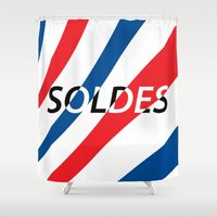 sale Shower Curtains featuring SOLDES(SALE) by Jeff Ryu