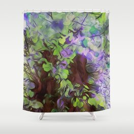 Old Tree Thick Branches Green & Blue Colors Shower Curtain