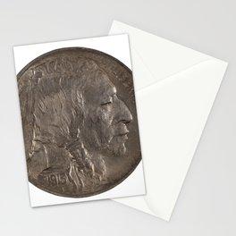 Pristine Indian Buffalo Nickel on white background Stationery Cards