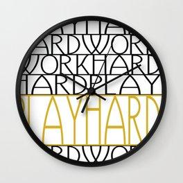 Work Hard, Play Hard - Black, Yellow - Saying, Quote - Typography Wall Clock