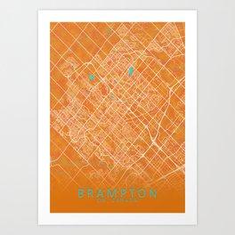 Brampton, ON, Canada, Gold, Blue, City, Map Art Print
