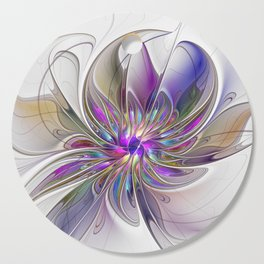 Energetic, Abstract And Colorful Fractal Art Flower Cutting Board