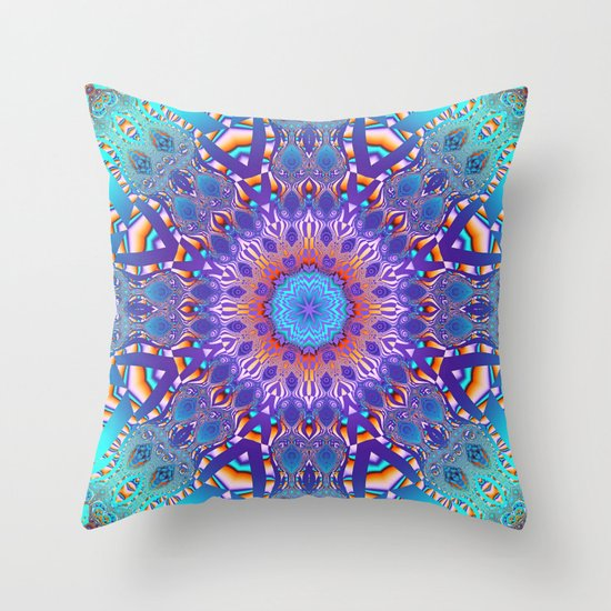 kaleidoscope pattern in turquoise purple pink and orange throw pillow by thea walstra society6. Black Bedroom Furniture Sets. Home Design Ideas