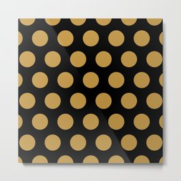 Colorful Mid Century Modern Polka Dots 526 Gold and Black Metal Print