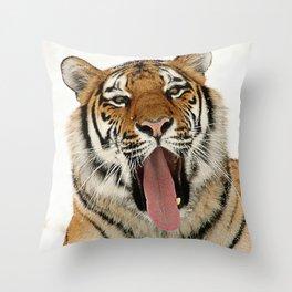 Funny Wacky Tiger Throw Pillow