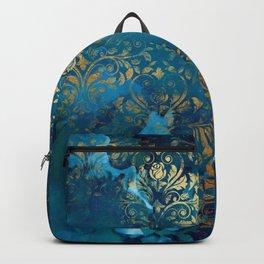 Modern Aqua Blue Ink Wash Gold Grunge Damask Overlay Backpack