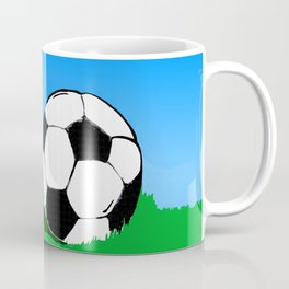 Soccer Ball In Grass Printmaking Art Coffee Mug