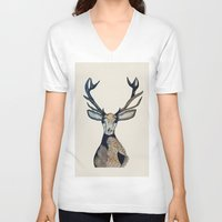 stag V-neck T-shirts featuring Stag by The Art Hutch