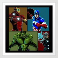 avenger Art Prints featuring Avenger Team by Carrillo Art Studio