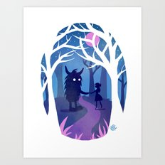Making Friends with Monsters Art Print