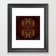 letter K seahorse monogram Framed Art Print