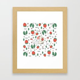 Strawberries nom nom Framed Art Print