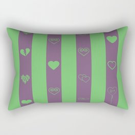 Love stripes pattern dark magenta and green Rectangular Pillow