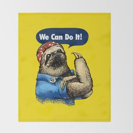 We Can Do It Sloth Throw Blanket