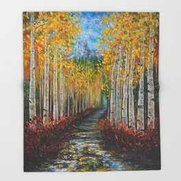 Nelly Creek painting of Uncompahgre National Forest Throw Blanket