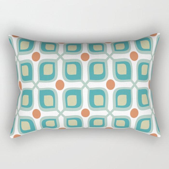 Abstract Flower Pattern Mid Century Modern Retro Turquoise Orange Rectangular Pillow