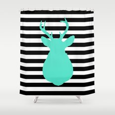 Blue Deer & Black and white stripes Shower Curtain