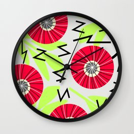 Red round flowers Wall Clock