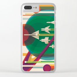 NASA Retro Space Travel Poster The Grand Tour Clear iPhone Case