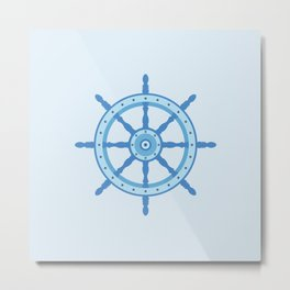 AFE Ship Wheel Light Blue, Nautical Art Print Metal Print