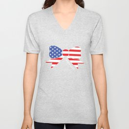 America Bow Graphic Patriotic 'Merica T-shirt Unisex V-Neck