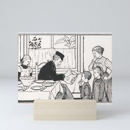 Family in a dining room by Julie de Graag (1877-1924) Mini Art Print