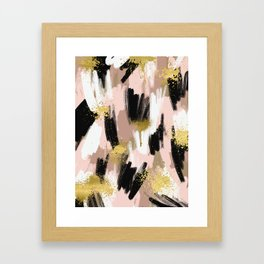 Blush and Gold Abstract Framed Art Print