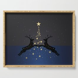 Champagne Gold Star Christmas Tree with Magical Reindeers | Dreamy Blue Serving Tray