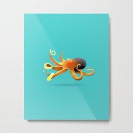 Geometric Octopus - Modern Animal Art Metal Print