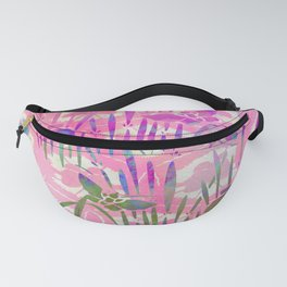Cherry Blossom Pink Batik Butterfly Stencil | Chinoiserie Chic Watercolor Print - Cherry Blossom Pink  Fanny Pack