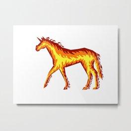 Fire Unicorn Metal Print
