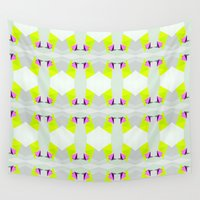 polygon Wall Tapestries featuring Polygon Neon by ARTDROID
