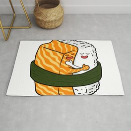 Perfect Sushi Hug Tee For Sushi Lovers Illustration Different Kinds Of Sushi Roll Chopsticks T-shirt Rug