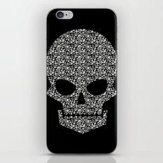 Skull + flowers (white) iPhone & iPod Skin