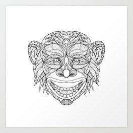 Chimpanzee Head Zentagle Art Print