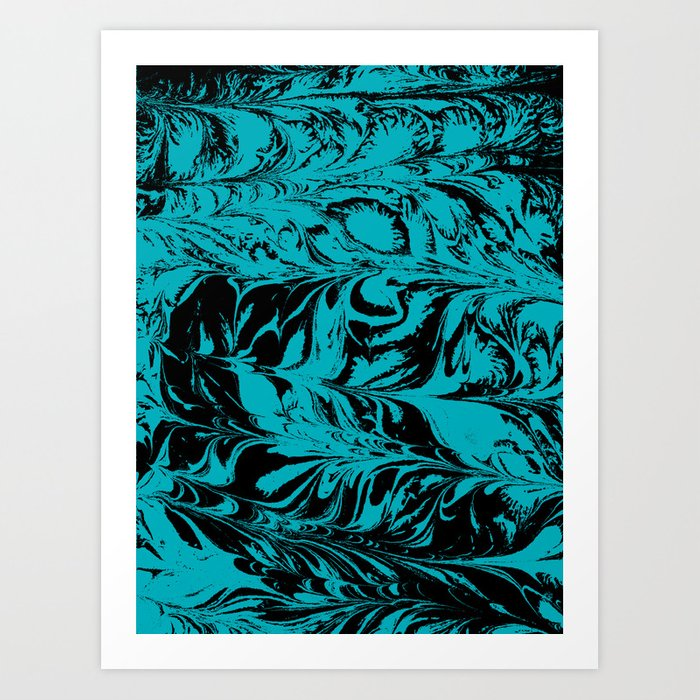 Suminagashi 2 turquoise and white marble spilled ink ocean swirl watercolor painting Kunstdrucke