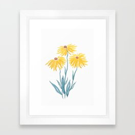 three yellow flowers Framed Art Print