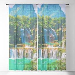 Ban Gioc Waterfall Detian Falls Vietnam Ultra HD Sheer Curtain