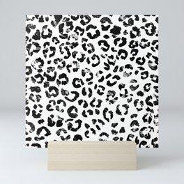 Modern black white marble stylish leopard pattern Mini Art Print
