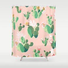 Vintage Cactus Pattern Shower Curtain