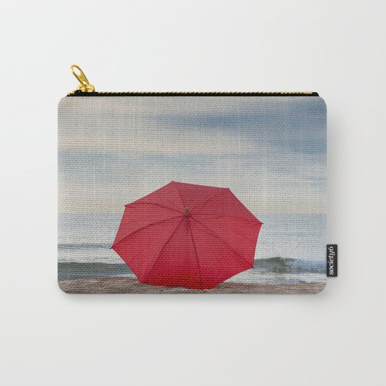 Red umbrella lying at the beach Carry-All Pouch