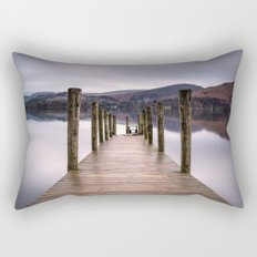 Lake View with Wooden Pier Rectangular Pillow