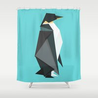 fractal Shower Curtains featuring Fractal geometric emperor penguin by Picomodi