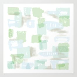 Abstract Conundrum Blue and Green Art Print