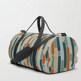 Modern Tabs in Dark Teal, Burnt Orange, Olive Duffle Bag