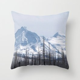 Snow On The Three Sisters Mountains 282 Throw Pillow