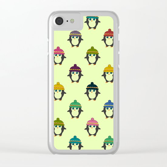 Penguins with colorful beanies Clear iPhone Case