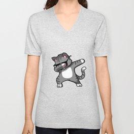 Dabbing Cat Grey Unisex V-Neck