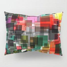 Red Black Green Square Overlay Pattern Design Pillow Sham