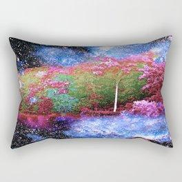 Trees Starry Night Lake Rectangular Pillow